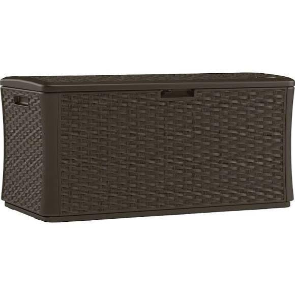 Suncast Sheds & Storage 134 Gal. Resin Wicker Deck Box Java resin wicker BMDB134004