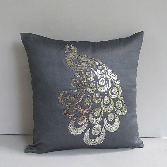 silver sequin peacock pillow cover 18 inch Custom made on Etsy, $34.50