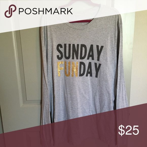 Sunday Funday Tee Did able Sunday Funday shirt! Purchased from a local boutique. The black has faded a little bit because of washing! But looks good! Glitter words are fine ❤️ Tops Tees - Long Sleeve