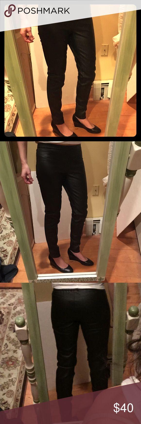 ⭐NEW Michael Kors Pants New Black pleather pants. Skinny style with elastic waist.  Size 4 Petite Michael Kors Pants Skinny