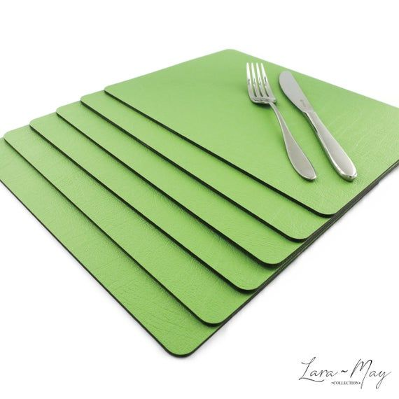 Leather Place Mats Sets Of 6 Apple Green Table Mats Made In The Uk Ideal Place Mat Gift Tablemats Vinylplacemats Green Placemats Recycled Leather Bbq Table