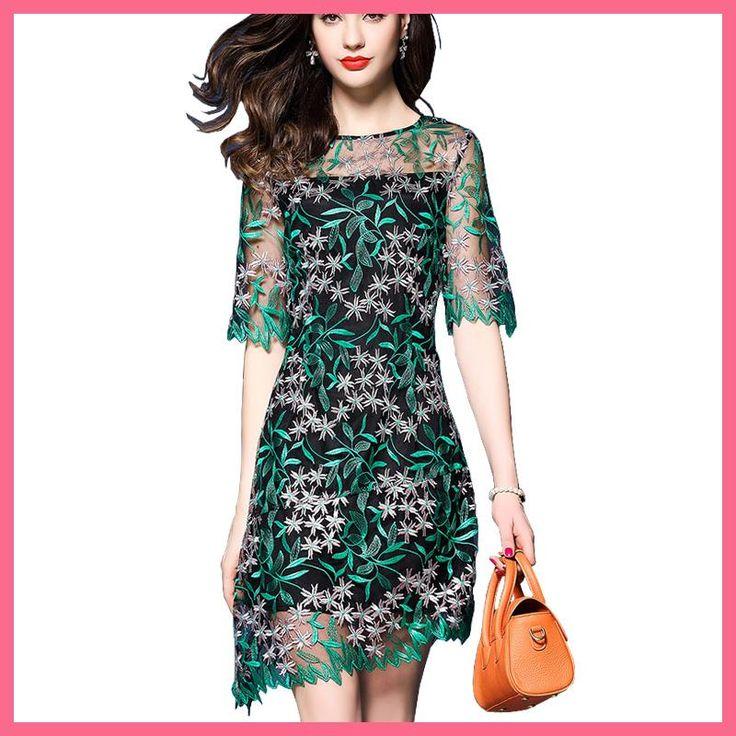 Elegant Summer 2017 Embroidery Dress Woman Lace Crochet Embroidered Green Dress Short Skinny Bodycon Party Dress Vestido Bordado