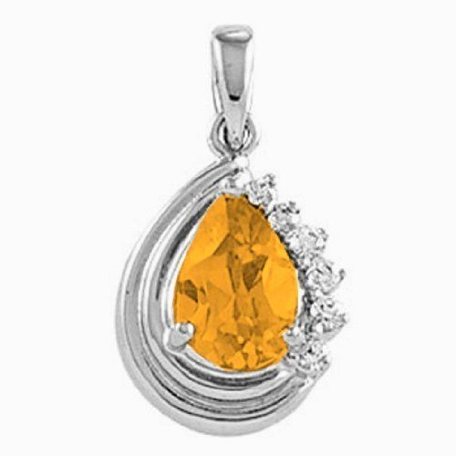 Platinum Pear Cut Citrine and Diamond Pendant Gems-is-Me. $842.80. This item will be gift wrapped in a beautiful gift bag. In addition, a 'gift message' can be added.. FREE PRIORITY SHIPPING. Save 40%!