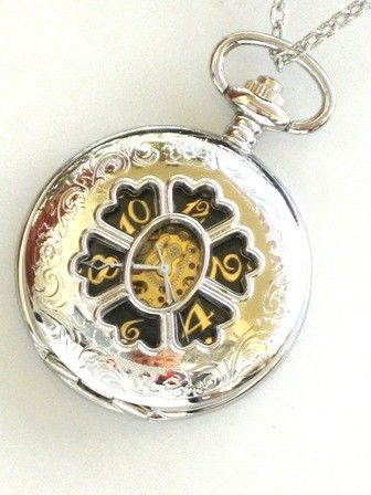 Steampunk - MAD HATTER - Silver Pocket Watch - Mechanical - Large - Necklace - Stainless Steel Silver - Neo Victorian - By GlazedBlackCherry