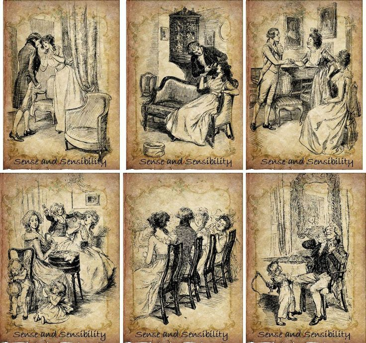 Vintage Illustrations Jane Austen Sense and Sensibility Cards Scrapbooking 6 | eBay