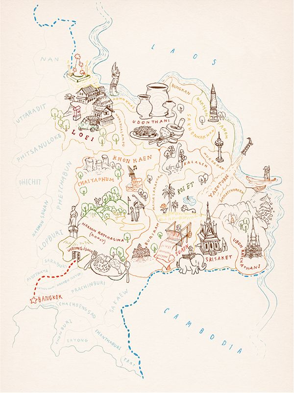 Sketch for a Map of North East Thailand for Oriental Escapes - Chinapat Yeukprasert