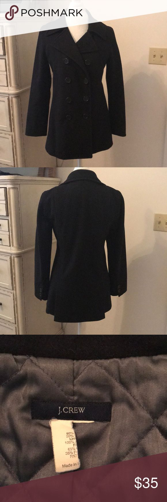 Jcrew thinsulate black pea coat Classic black pea coat. Very very warm and I love it but it's too small this year. Some war meat on the inside noted in last picture. Great for dressy occasion or with jeans. So versatile and did I mention warm! J. Crew Jackets & Coats Pea Coats
