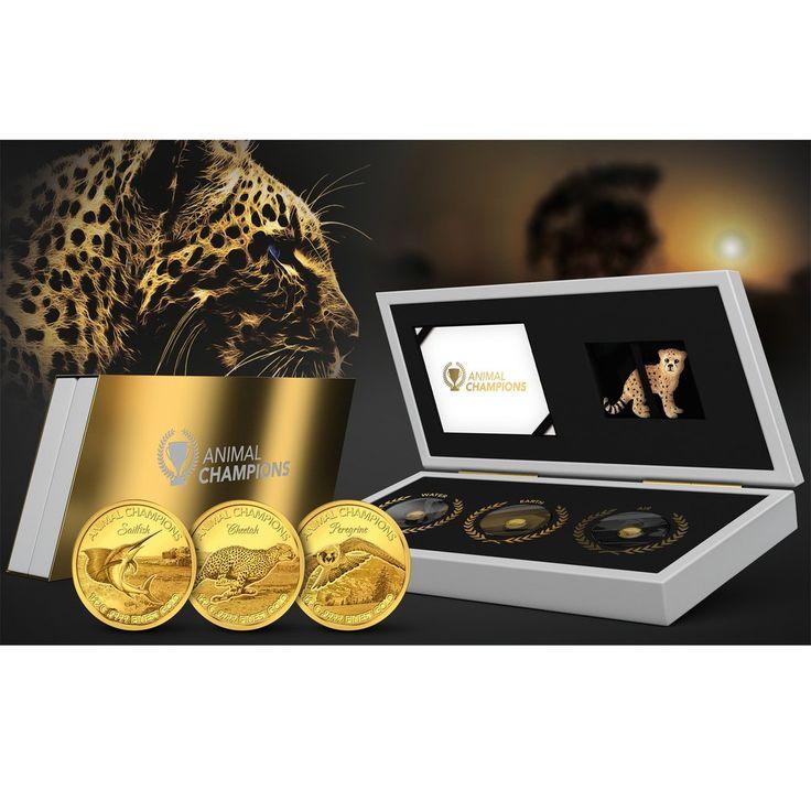 2016 Solomon Islands 3 X 1/2 Gram Animal Champions Gold Proof Coin Set