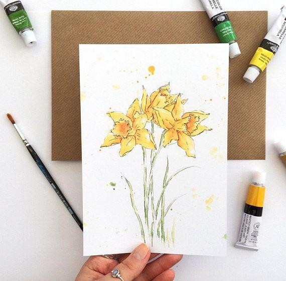 Daffodil art print - A5 print - British flower art - Watercolor art print - Flower illustration