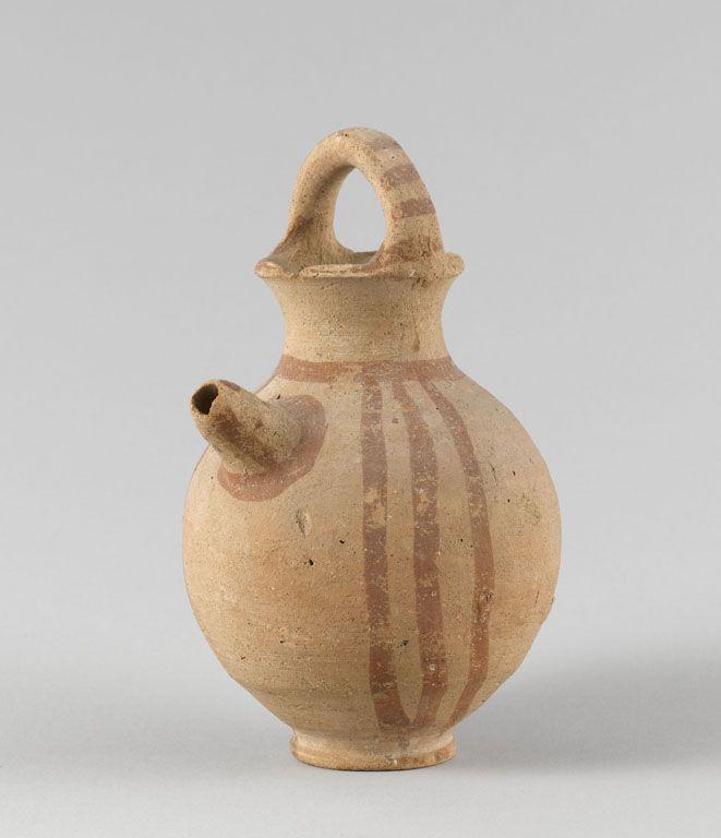 Cruche  Imitation locale de céramique mycénienne à engobe et peinture rouge, dite Mycénien III C  Bronze récent III (1230 - 1050 avant J.-C.)  Enkomi (tombe 419, 29)