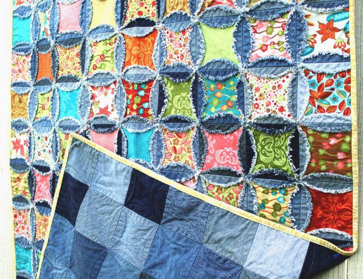 Denim Quilt Patterns Free : The Denim Circle Rag Quilt PATTERN by Inventive Denim. www.inventivedenim.com Denim Jeans ...