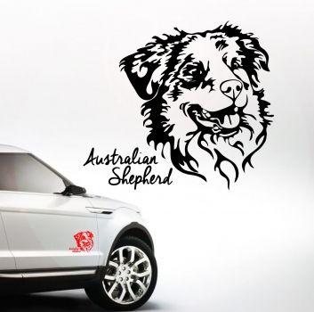 wilsigns-shop.com - Auto Aufkleber Portrait AUSTRALIAN SHEPHERD