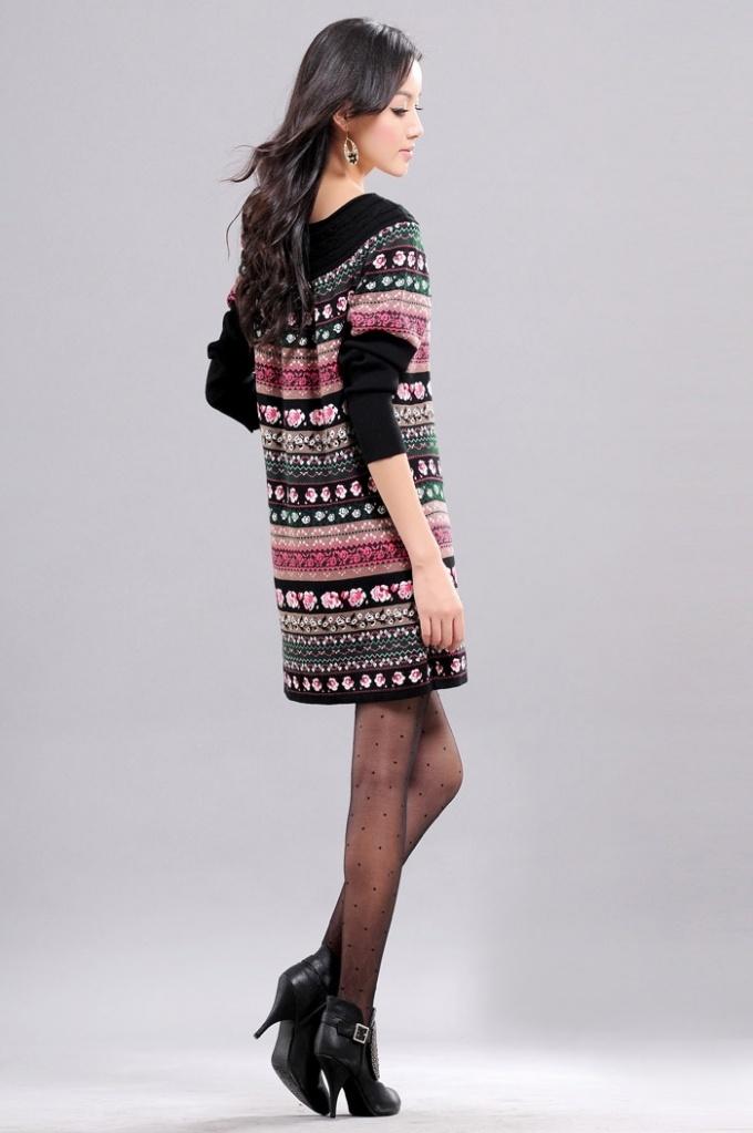 Vintage Stripes Floral Pattern Long Knitting Sweater Dress