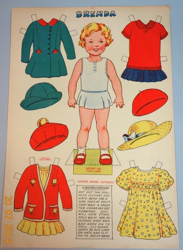 "Un Cut British Paper Doll Sheet 10"" Brenda w Dresses C1930s   eBay"