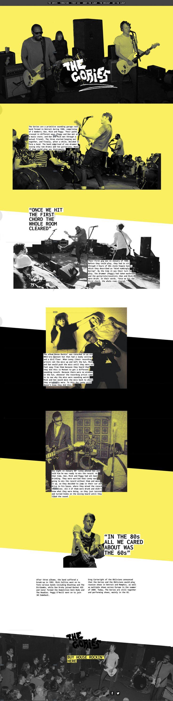 Ewan Morris / The Gories / one page web design