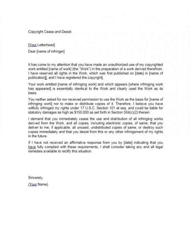 Cease And Desist Letter Template Cease And Desist Lettering Templates