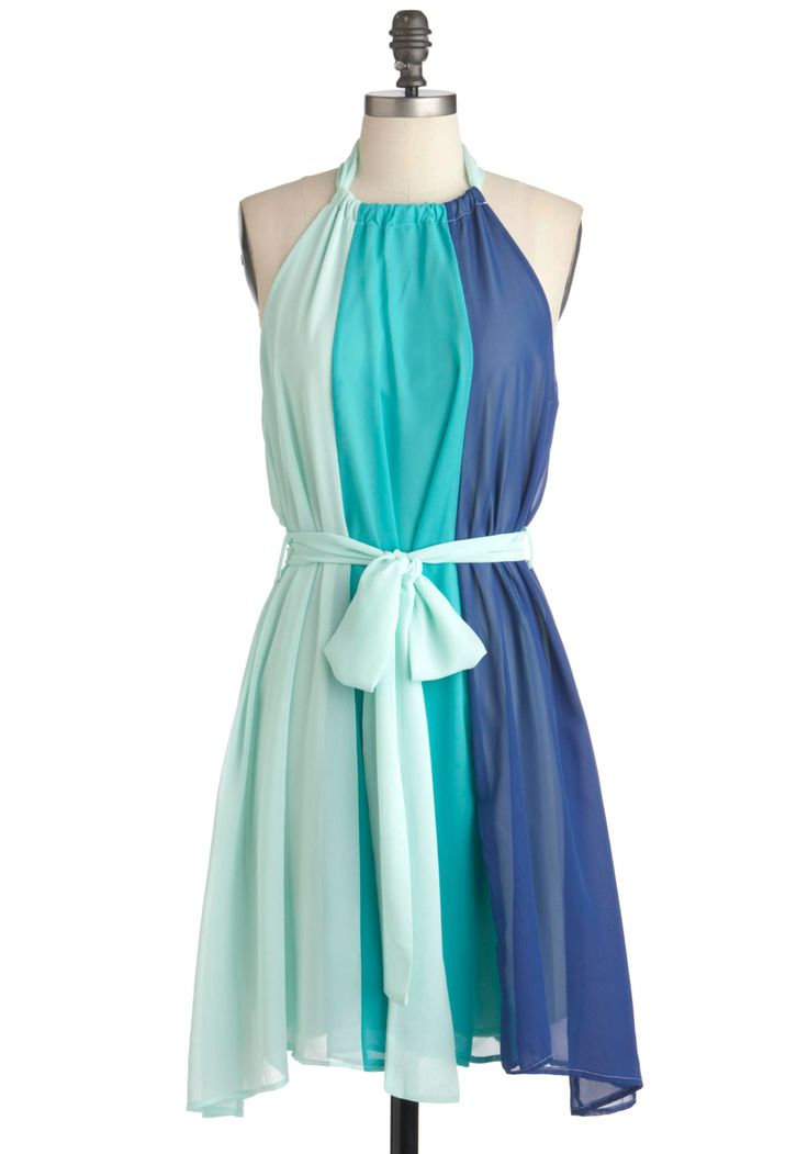 Scoop of Sorbet Dress in Blue - Blue, Green, Color Block, Party, Sheath / Shift, Sleeveless, Summer, Belted, Short, Colorblocking
