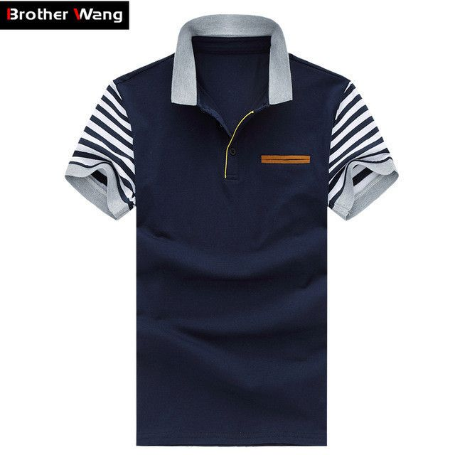Men's Polo Shirt Style Summer Leisure Stripe Stitching Cotton