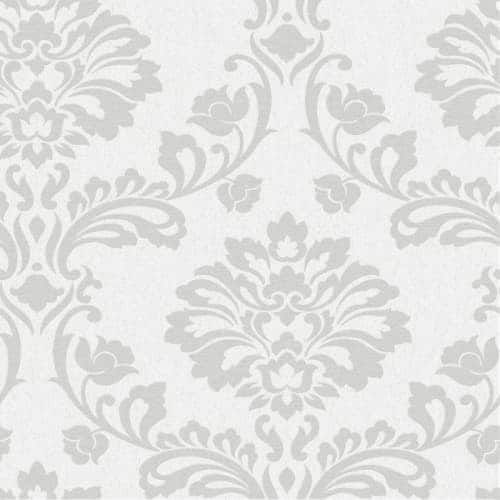 Graham and Brown 20-709 56 Square Foot - Aurora White and Silver - Non-Pasted Vinyl Wallpaper
