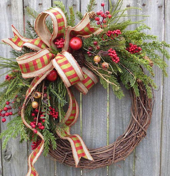 Christmas Door Wreath, Christmas Burlap Wreath with Apples, Berries, Grapevine Wreath, Fancy Burlap, Natural Holiday Decor, Etsy Wreath