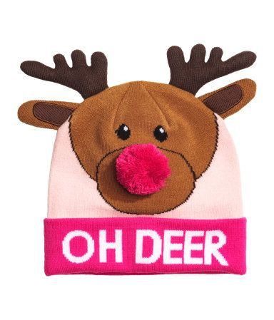 Pink/reindeer. Hat in double layers of soft, fine-knit fabric with an intarsia motif. Pompom at front, padded ears and antlers at top, and sewn cuff at hem.