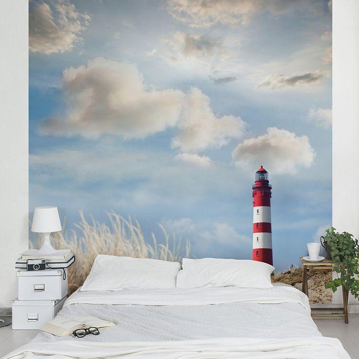 Bilderwelten Vliestapete Quadrat »Leuchtturm in den Dünen«