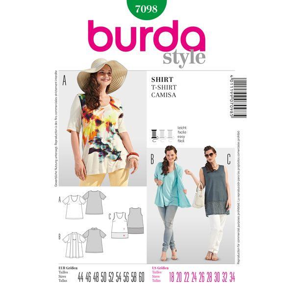 Maglietta, Burda 7098 - Cartamodelli Burda Taglie Forti- tessuti.com