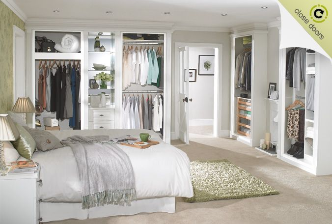 white fitted wardrobe open doors