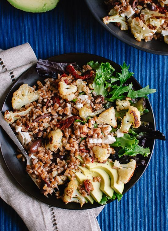 roasted cauliflower and farro salad with feta and avocado? sounds good ...