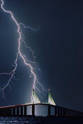 Lightning strikes the Sunshine Skyway Bridge in St. Petersburg, Florida on a summer night in 1994.