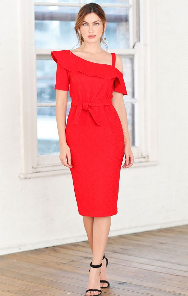 AMARYLLIS JACQUARD CUT OUT SHOULDER FRILL KNEE LENGTH DRESS IN RED