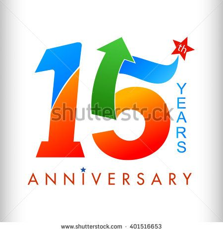 15 anniversary colors with arrow and star. vector illustrator.celebration logo color number design, anniversary with arrow