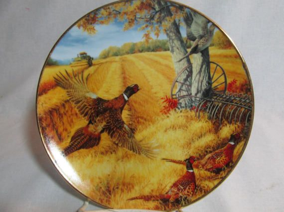 The collectors plate Somethings Never Change is by artist Linda Picken. It shows pheasants being scared out of the wheat field as the John Deere combines the crop. The plate measures 8 in diameter with gold rim. The plate was made in 1997. It is clearly states that it is for decorative use only, and not for food. HDMGld
