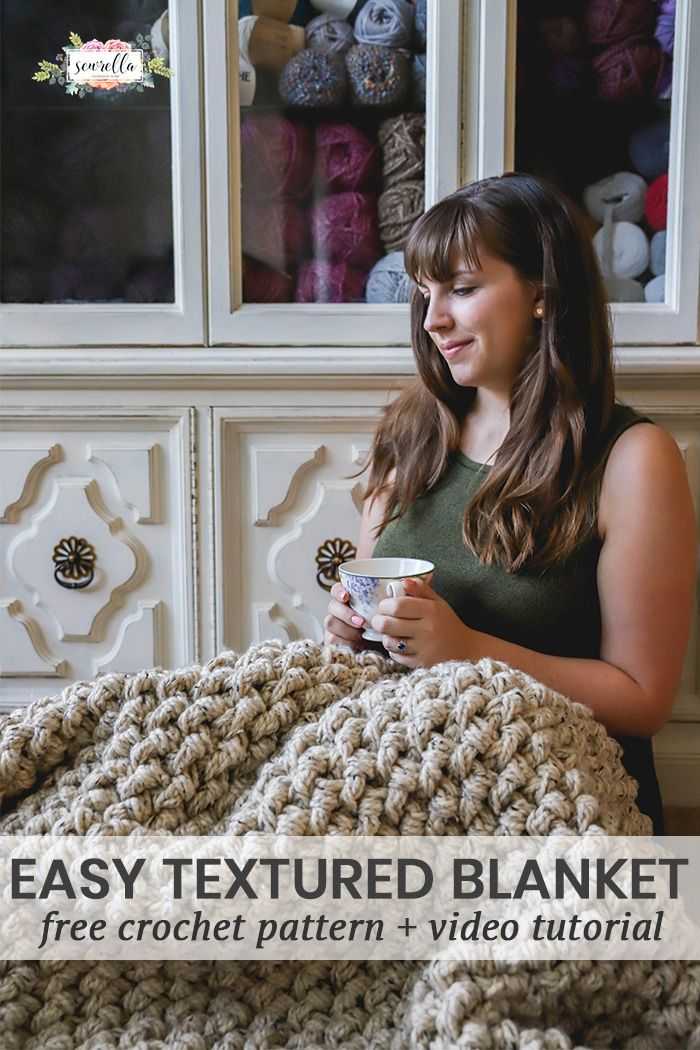 Crochet this easy textured mini basket weave blanket with my free pattern and video tutorial! You'll want to snuggle up under this warm, heavy blanket all winter long