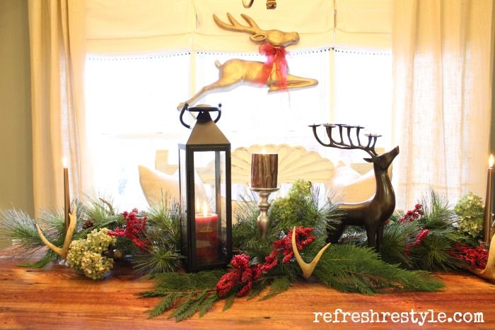 Farm table dressed for Christmas - Refresh Restyle