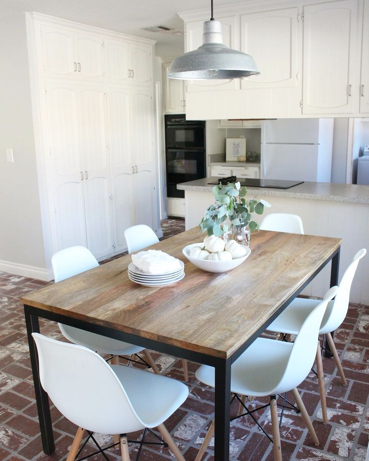 West Elm box frame table and Eames chairs by @halfwaywholeistic  Modern dining room