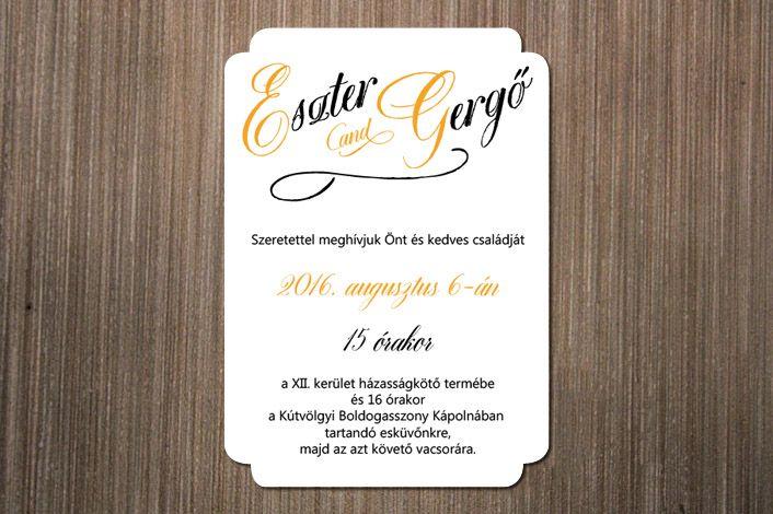 Classic Wedding Invitation, Wedding Invitation, Calligraphic Wedding Invitation, Yellow Wedding  Invitation