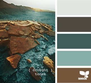 Light gray, dark gray, dark turquoise, light turquoise and brown.