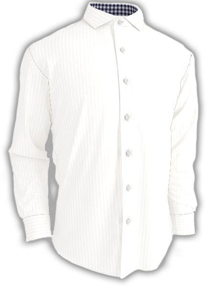 Herringbone White - with blue and white check collar - Custom made