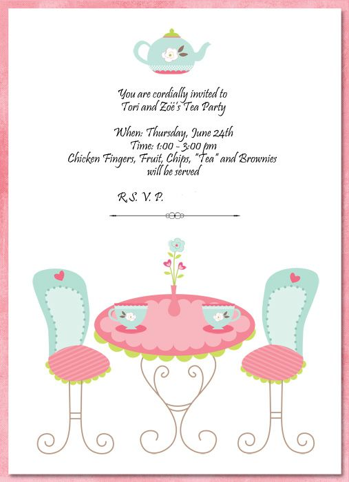 nice the tea party invitation template free templates in