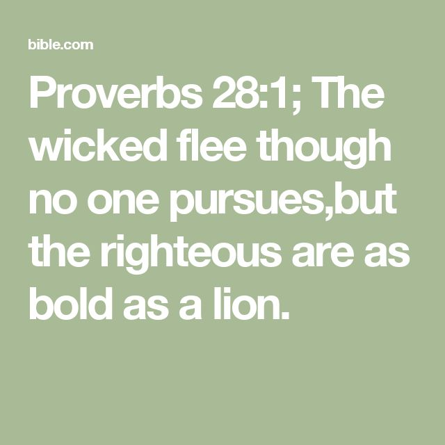 Proverbs 28:1; The wicked flee though no one pursues,but the righteous are as bold as a lion.