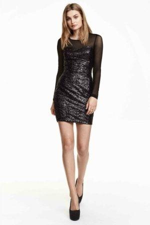 Robe noire à paillettes d'H&M : Asos, H&M, Zara, 60 petites robes noires fast fashion à adopter - Journal des Femmes