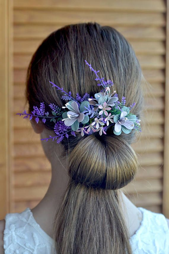 Floral comb Lilac hair comb Flowers hair back comb Bridal rustic head piece Wild flowers Wedding hair piece floral Bridesmaid comb Rustic  Ready to ship   Size cca. 13 x 6 cm (5,1 x 2,4 inches)  Perfect for rustic, woodland wedding styles And it can be a wonderful gift in the gift box. materials:  - fabric flowers - small flowers - floral tape - my love Thank you for visiting  Please visit my other items. I hope you will find something special and beautiful https://www.etsy.com/...