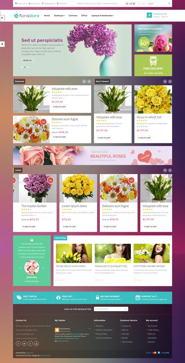 Pav Floral Responsive Opencart Theme on Behance