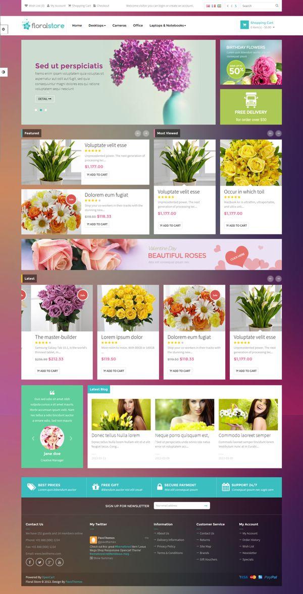 Pav Floral Responsive Opencart Theme on Behance
