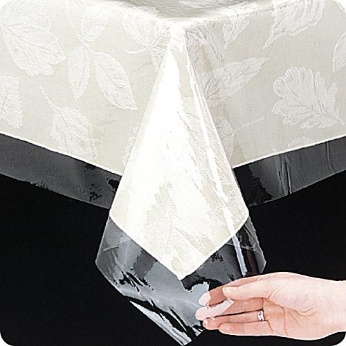 Clear 3 Gauge Vinyl Tablecloth Protector, Available In Assorted Shapes U0026  Sizes