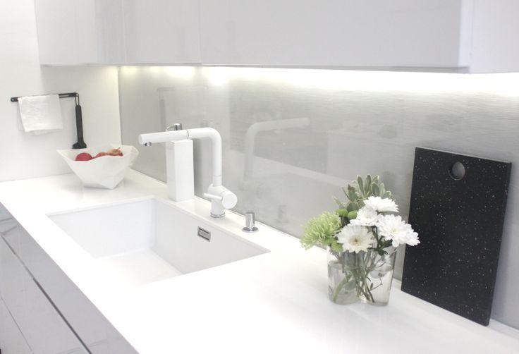 White tapware + glass splashback - kitchen