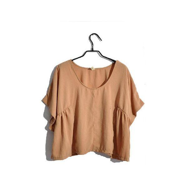 Simple Nude Oversized Short Batwing Sleeve Round Neck Chiffon Shirt,... via Polyvore