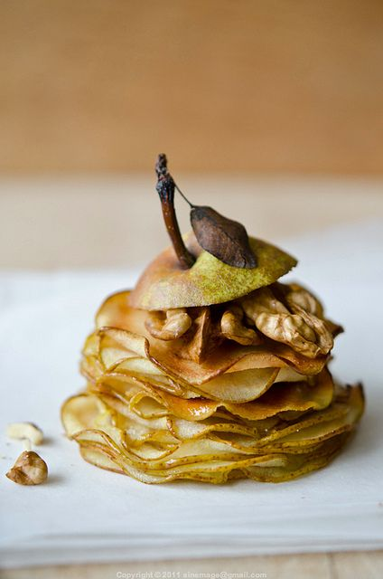 Pear millefeuilles - omg, I think this is one of the best dessert ideas ever - the fruit makes it feel healthy :)