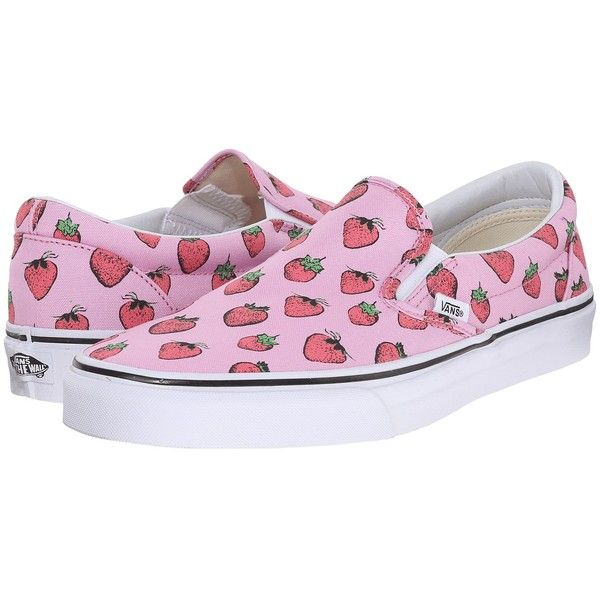 Vans Classic Slip-On ((Strawberries) Pastel Lavender/True White) Skate... ($55) ❤ liked on Polyvore featuring shoes, deck shoes, white boat shoes, white slip on shoes, vans shoes and leather skate shoes